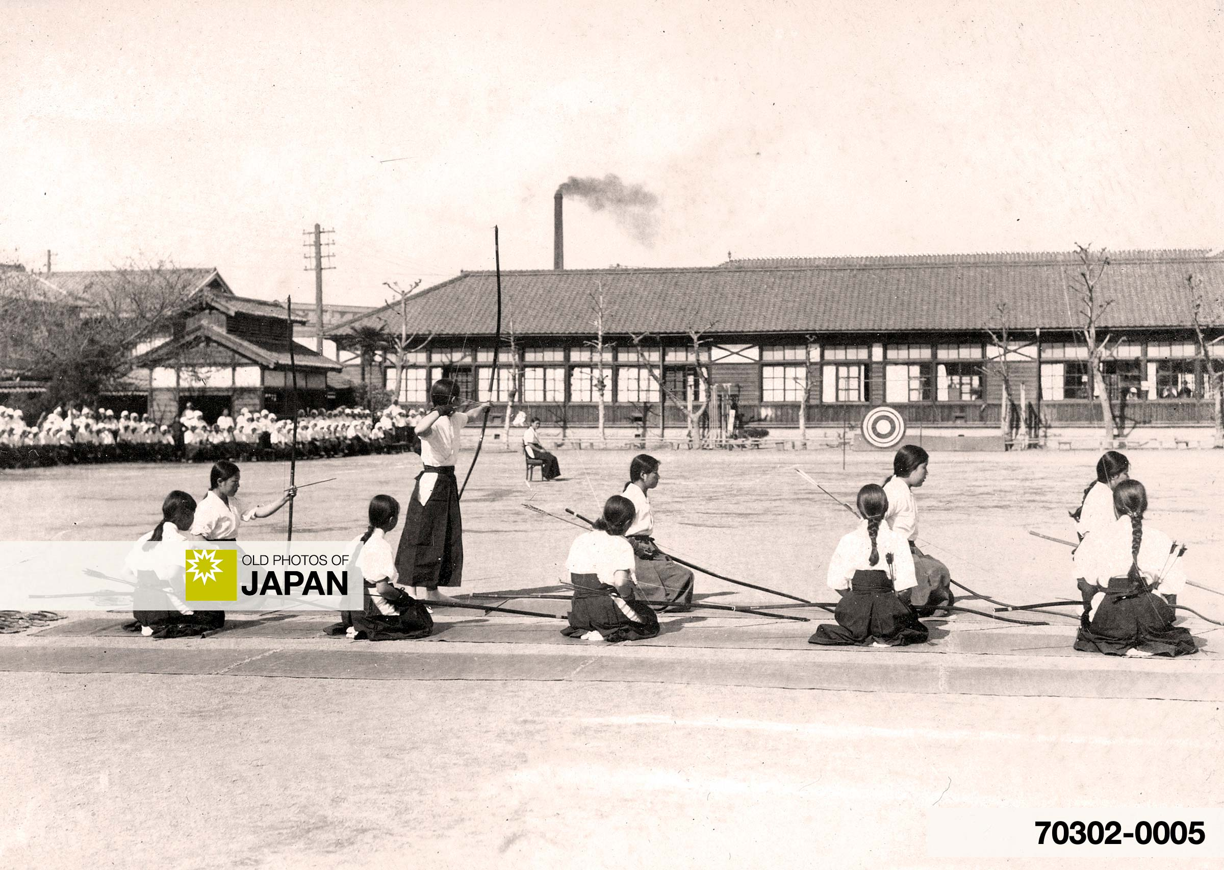 Japanese School Girls Doing Archery
