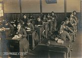Japanese School Girls Eating Bento in the Classroom