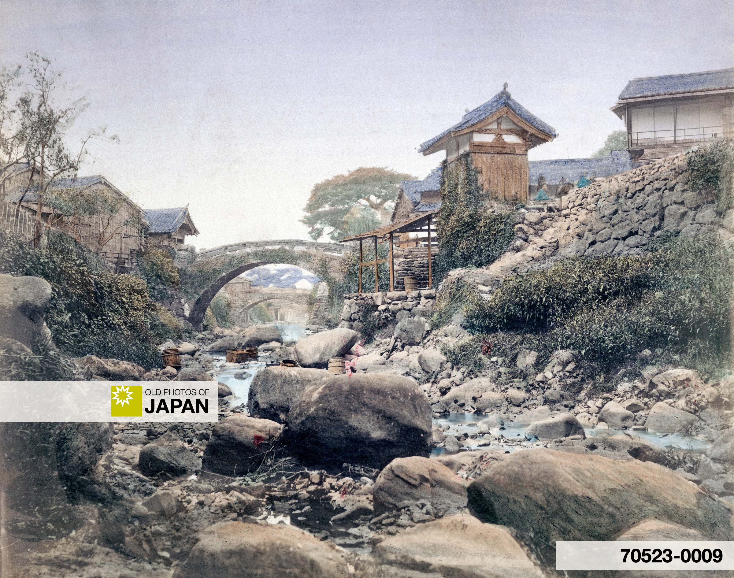 Amida Bridge and Korai Bridge on Nakashima River, Nagasaki