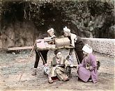 Kago Bearers and Customer Taking a Break