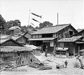 Koinobori Streamers and Typical Rural Houses near Nara, Japan (May 1934).