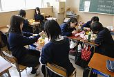 Lunch time at a Japanese school