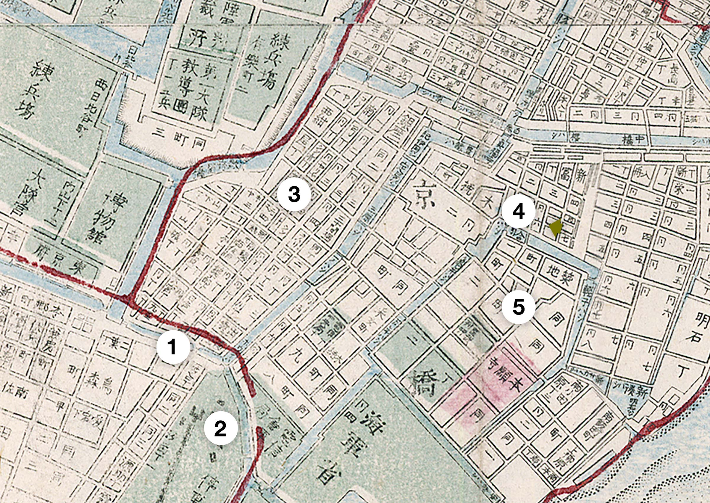 Map of Tokyo's Shintomi and Tsukiji District in 1892