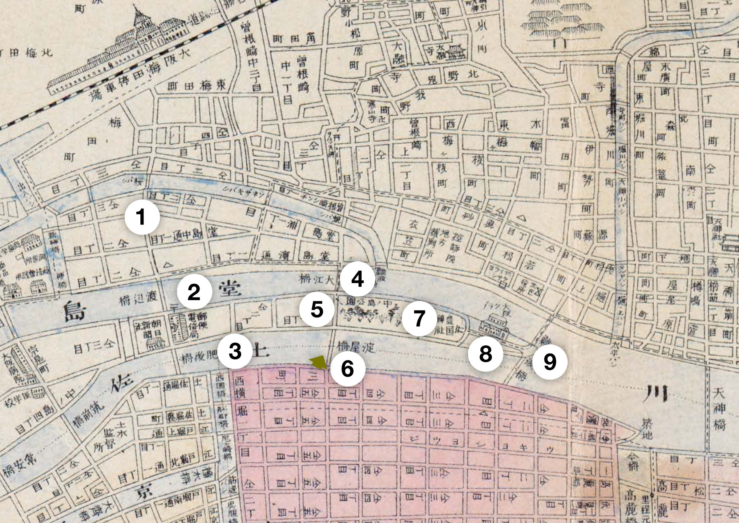 Map of Nakanoshima, Osaka 1903
