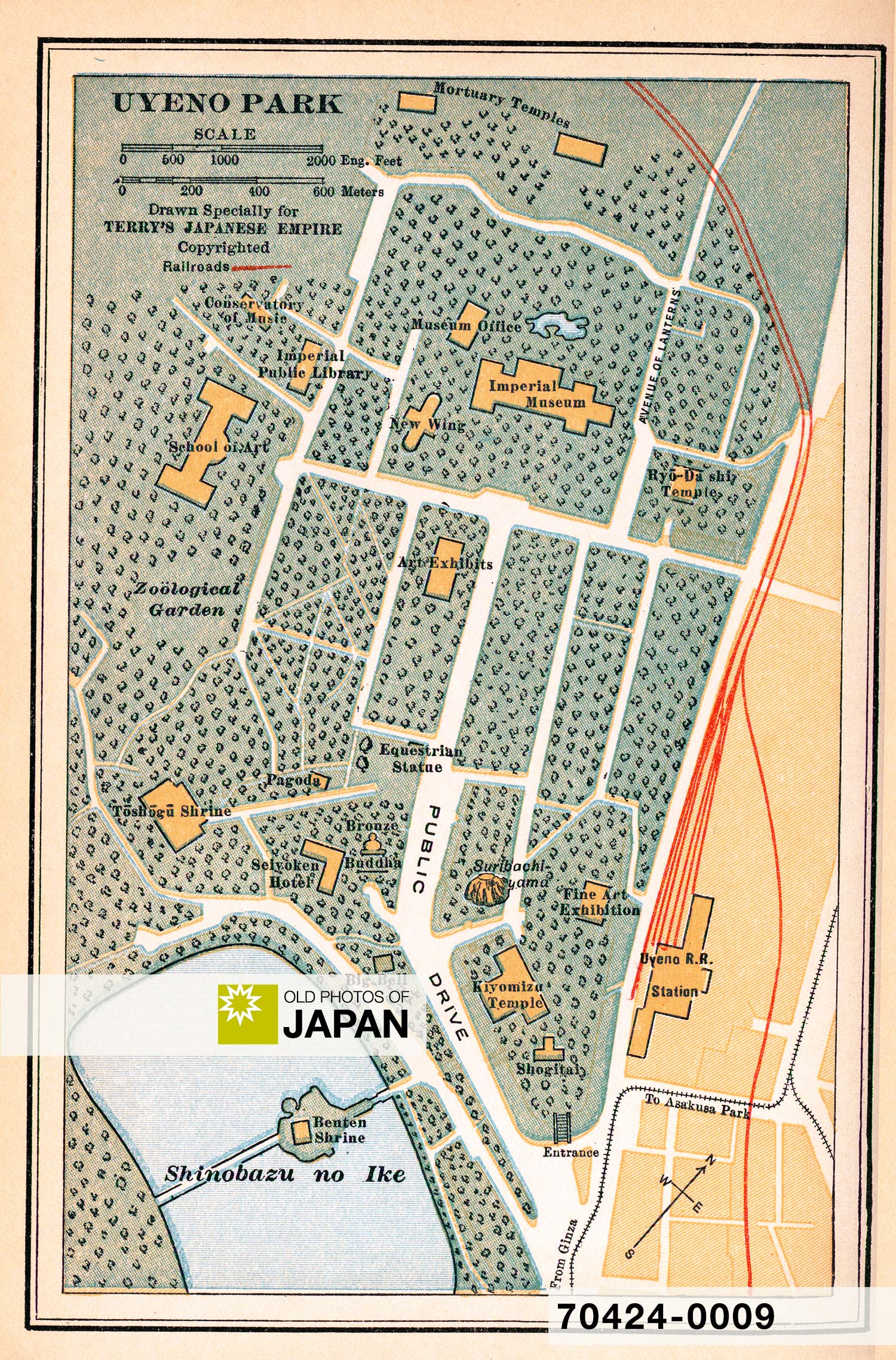 "Map of ""Uyeno Park"" from Terry's Guide to the Japanese Empire, 1920."