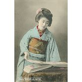 Japanese Woman in Kimono Looking at Postcards