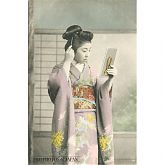 Japanese Woman in Kimono Combing Hair