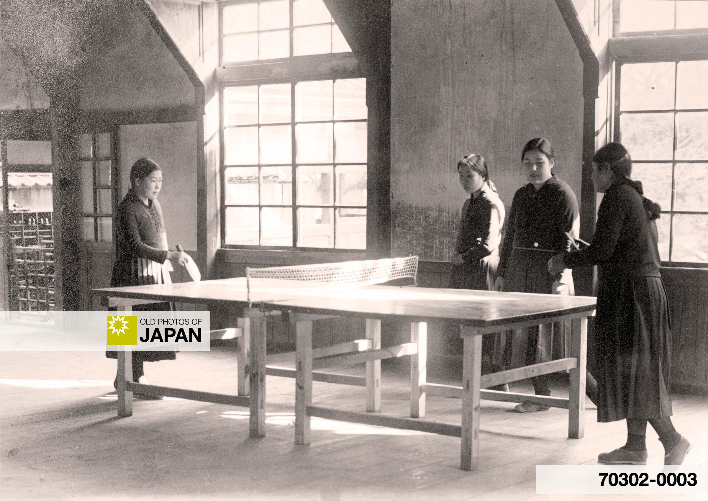 Japanese School Girls Playing Table Tennis