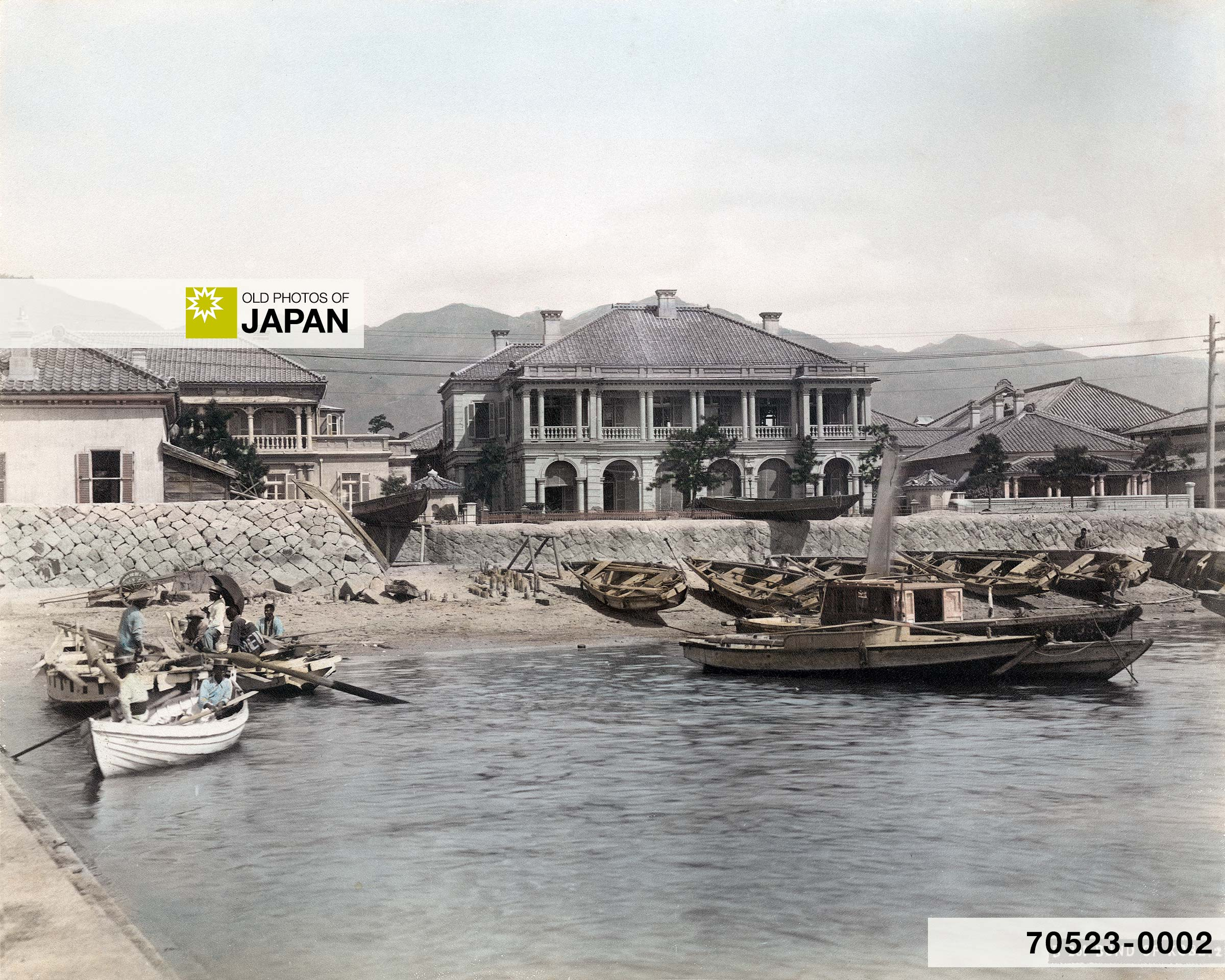 Houses and Boats at the Bund of Kobe