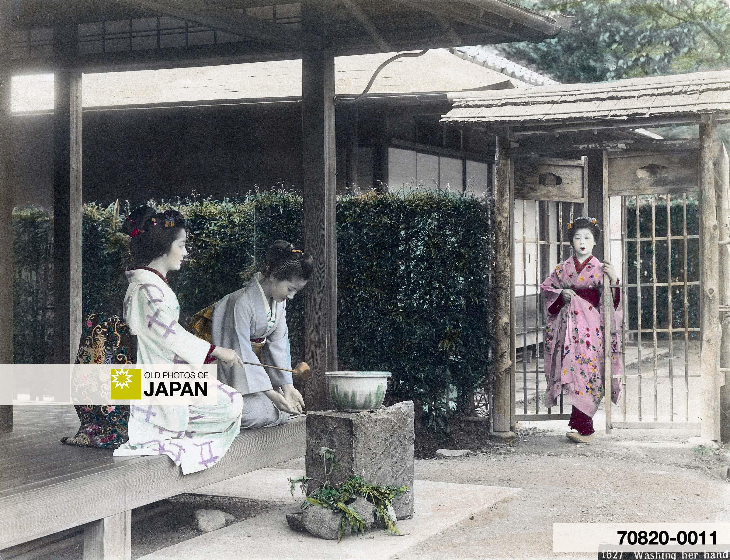 Temizu, Japanese Women in Kimono Washing Hands