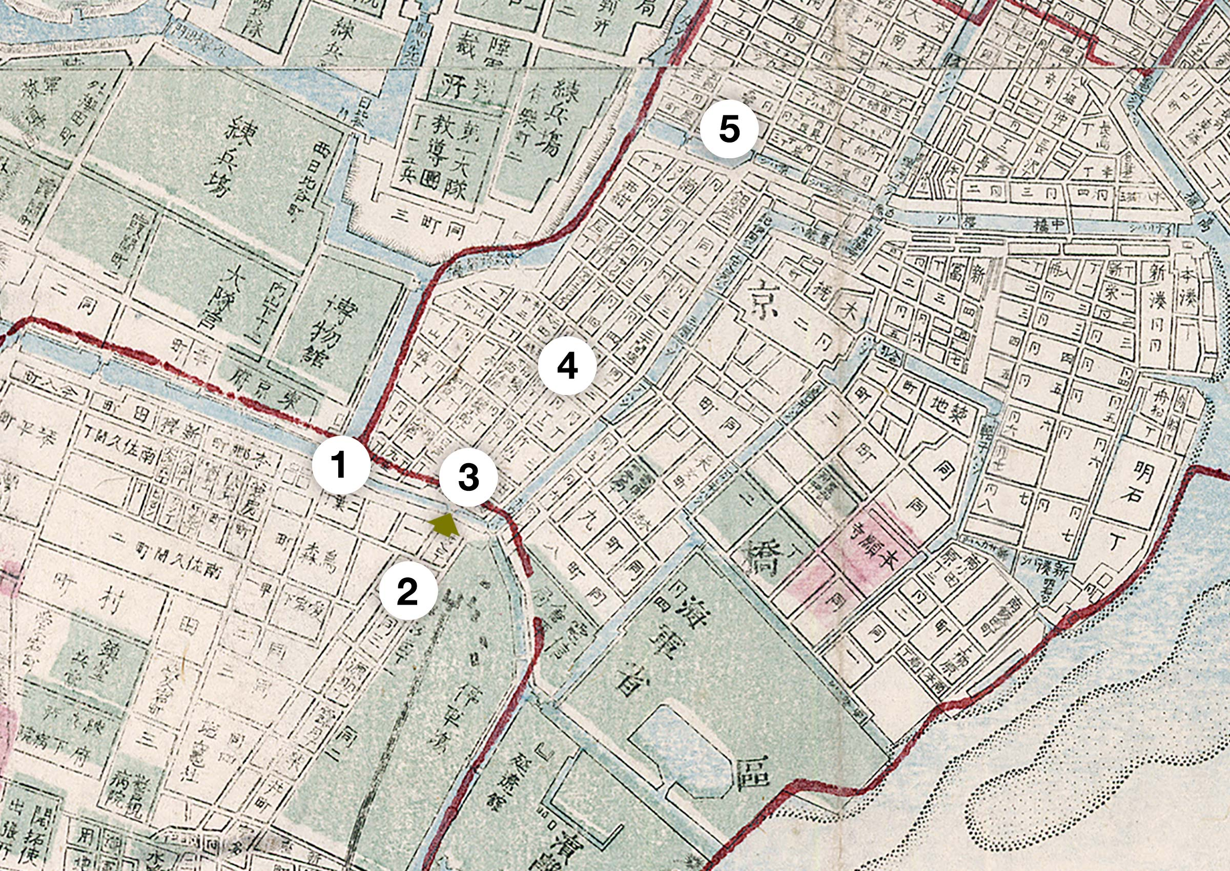 map of Shinbashi and Ginza, Tokyo, 1892