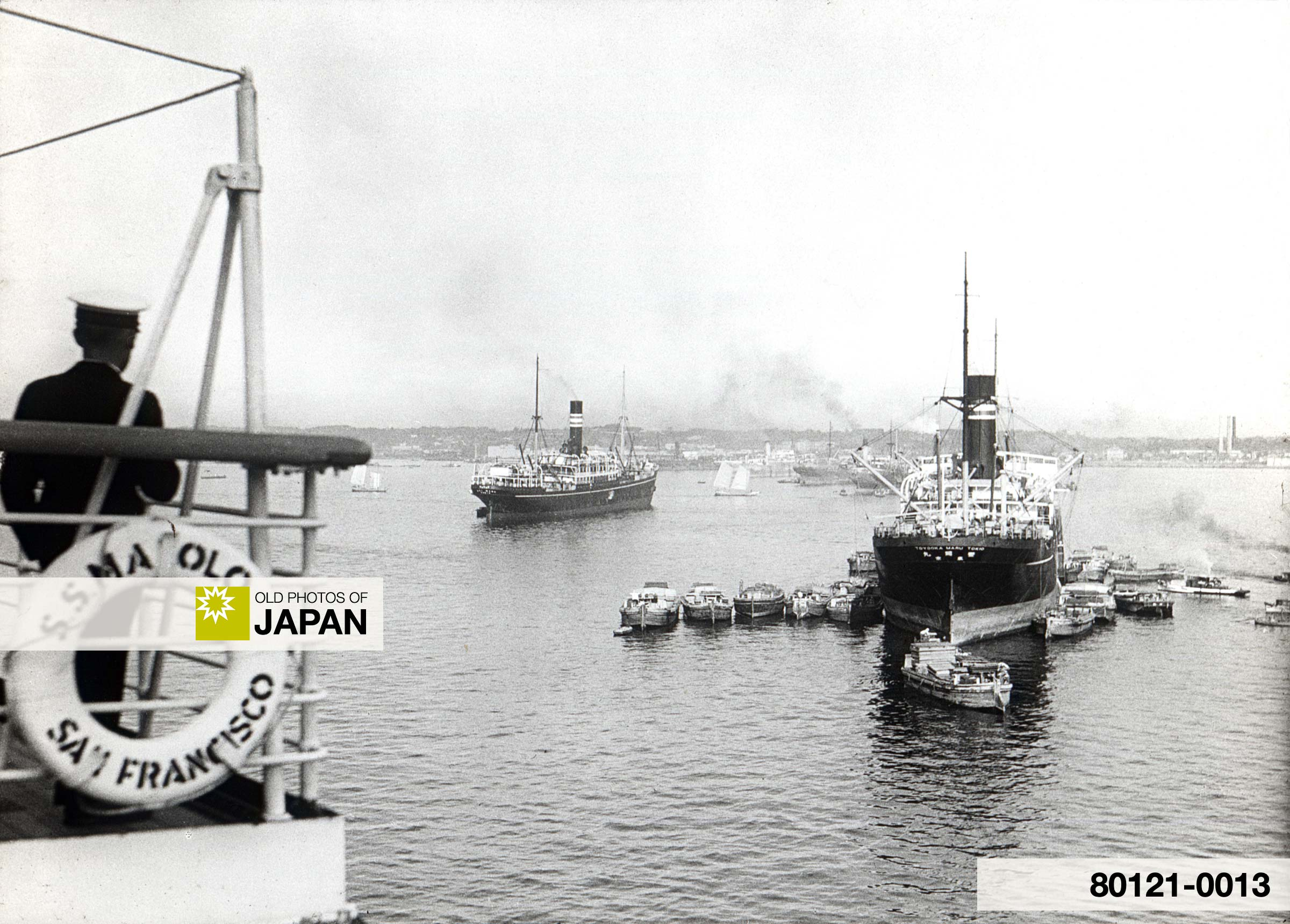s.s. Malolo and other Steamers and Liners in Yokohama Harbor, Japan (October 1929).