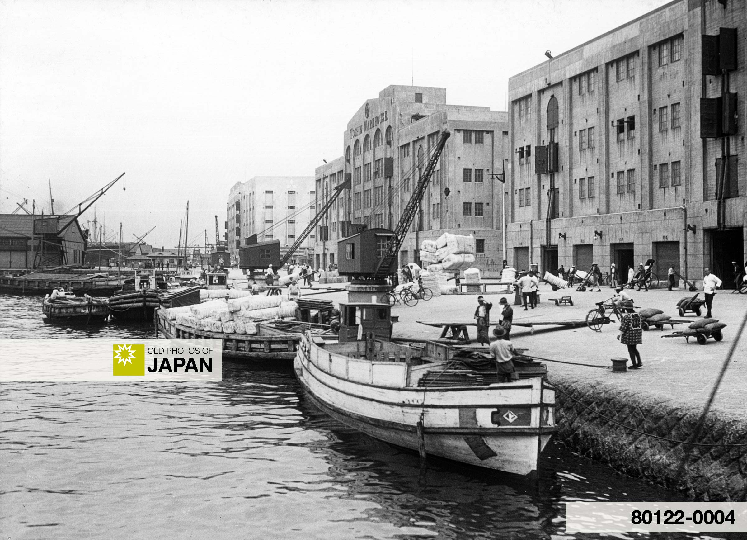 Japan. Kobe. Boats and Warehouses in Port (1930).