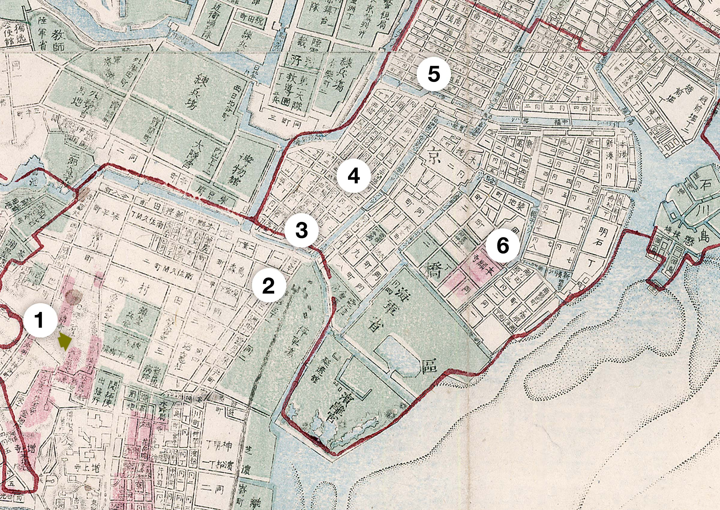 Map of Tokyo, 1880
