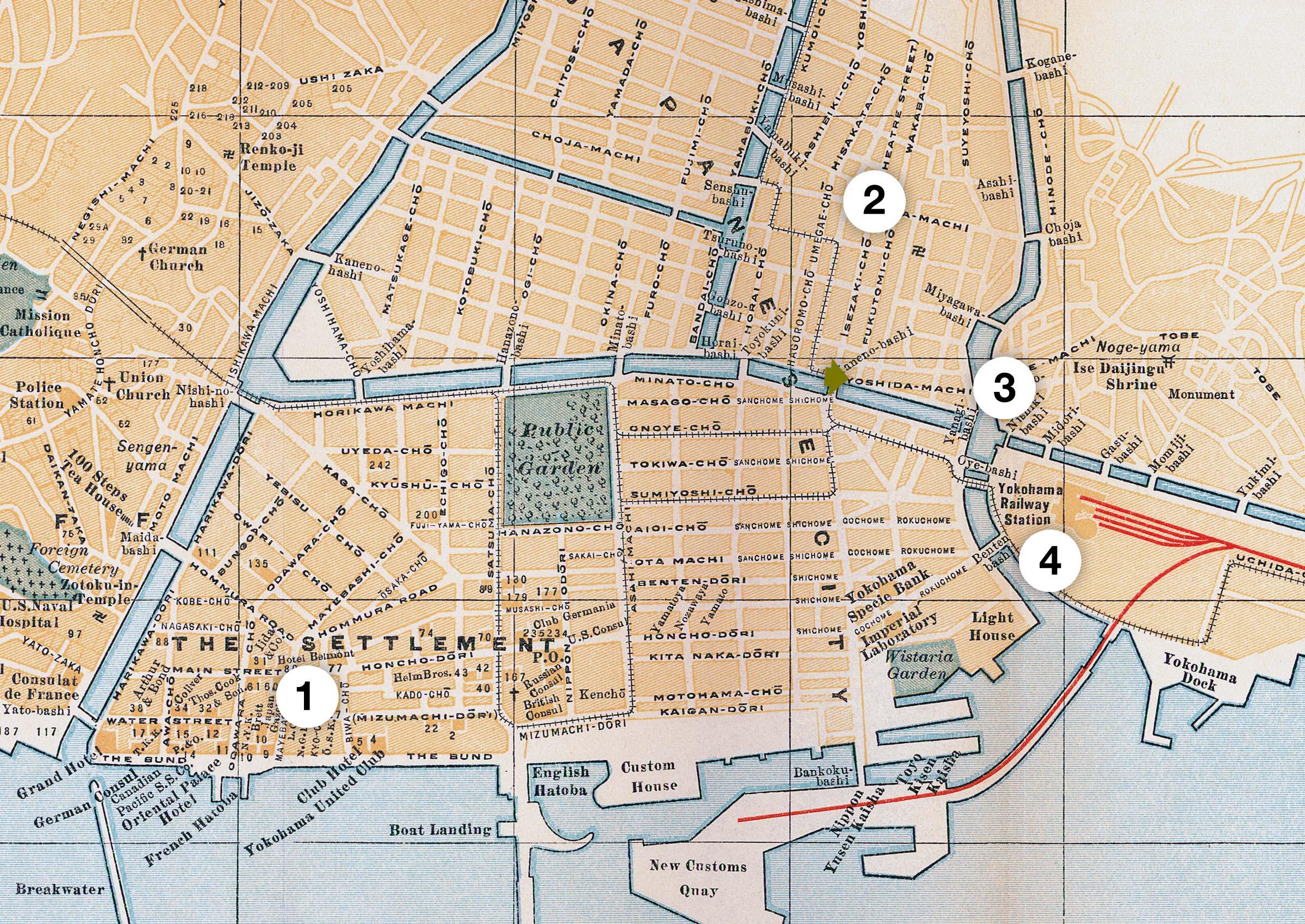 Map of Yokohama 1890