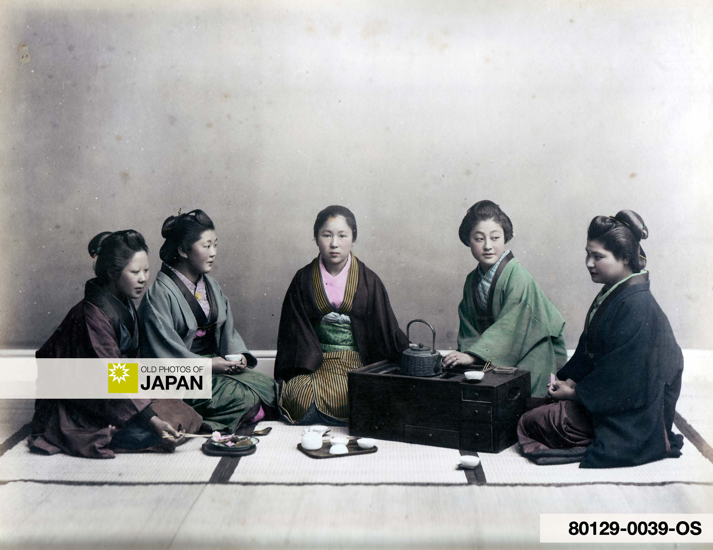 Women in Kimono Having Tea
