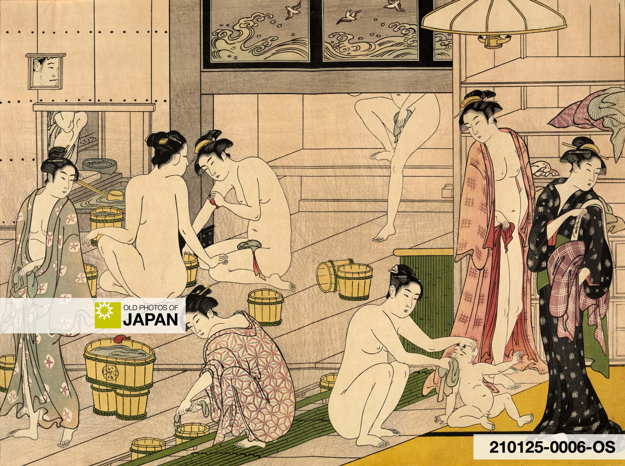 Women at bath. Ukiyoe by Torii Kiyonaga (1752 - 1815)