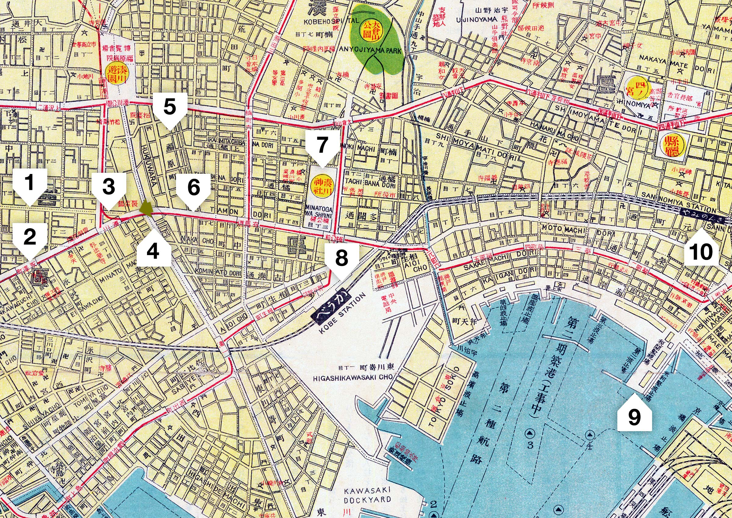 Map of Kobe, 1937