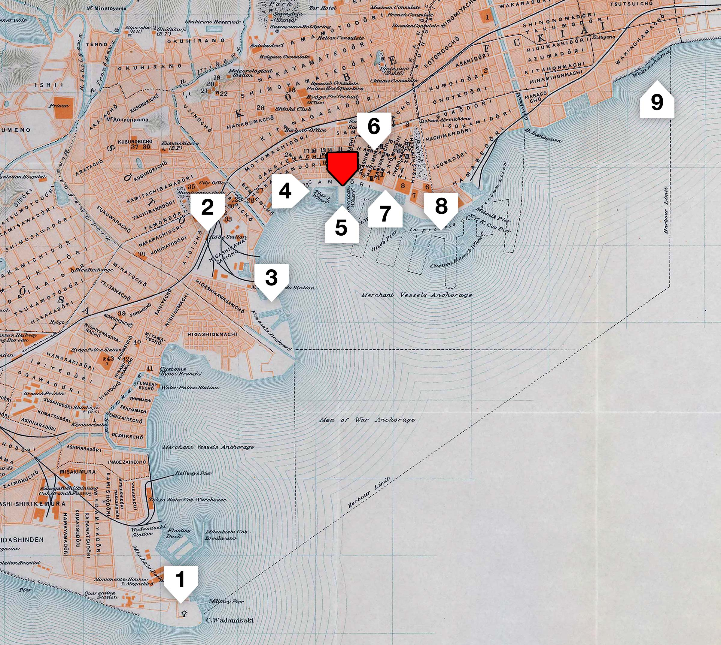 Map of Kobe Port, 1914