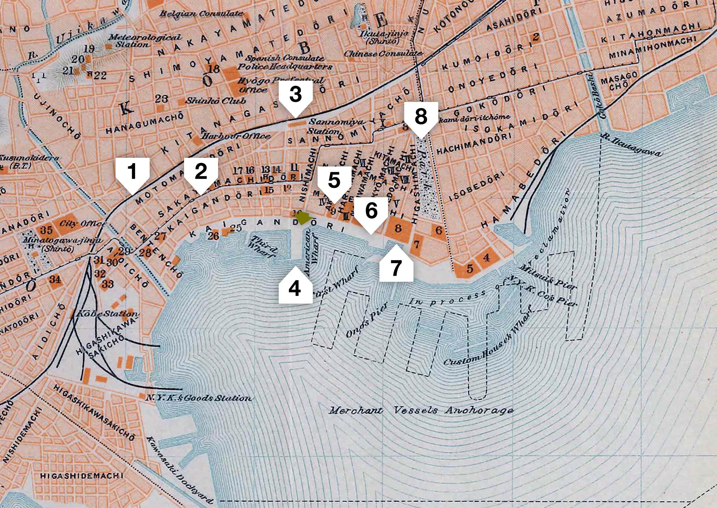 Map of Kobe Port 1914