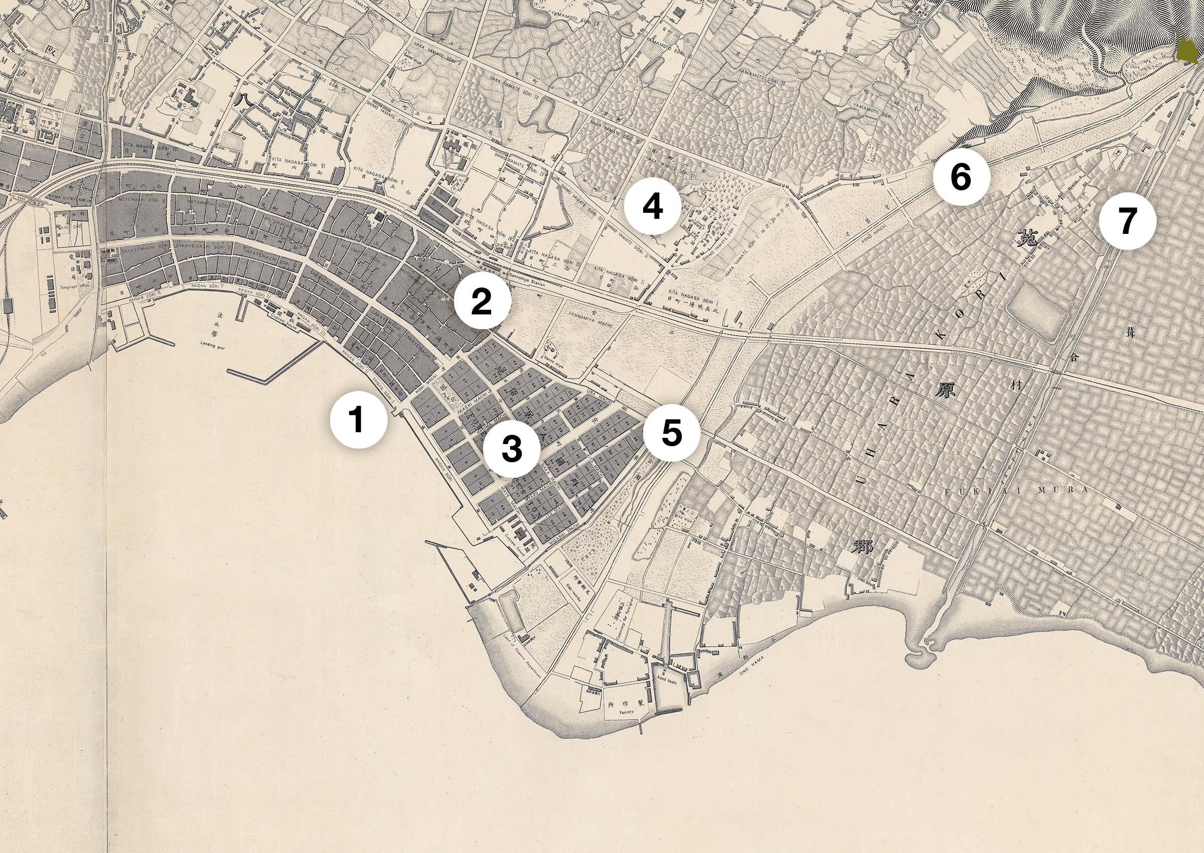 Map of Kobe, 1891