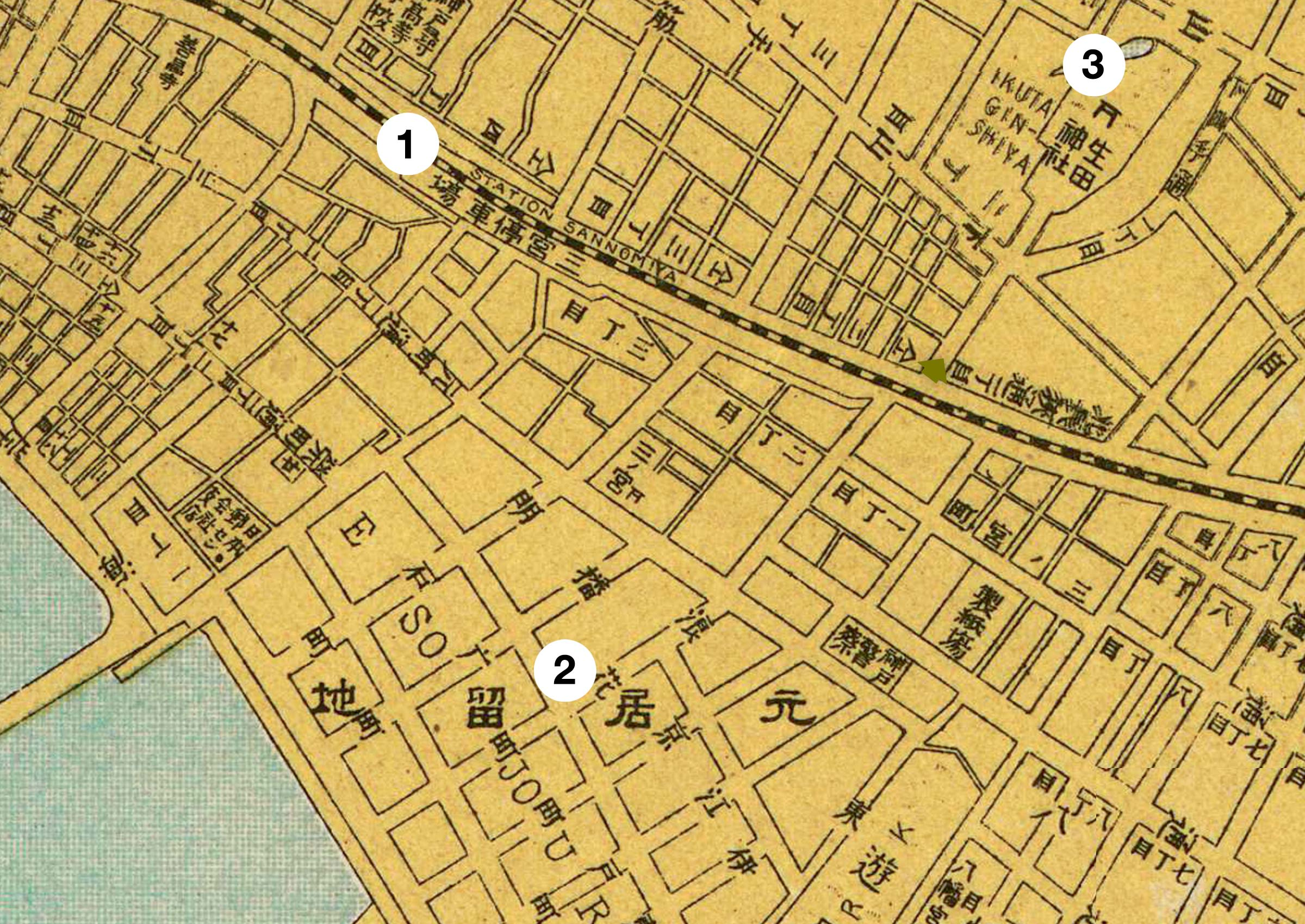 1929 Map of Sannomiya, Kobe
