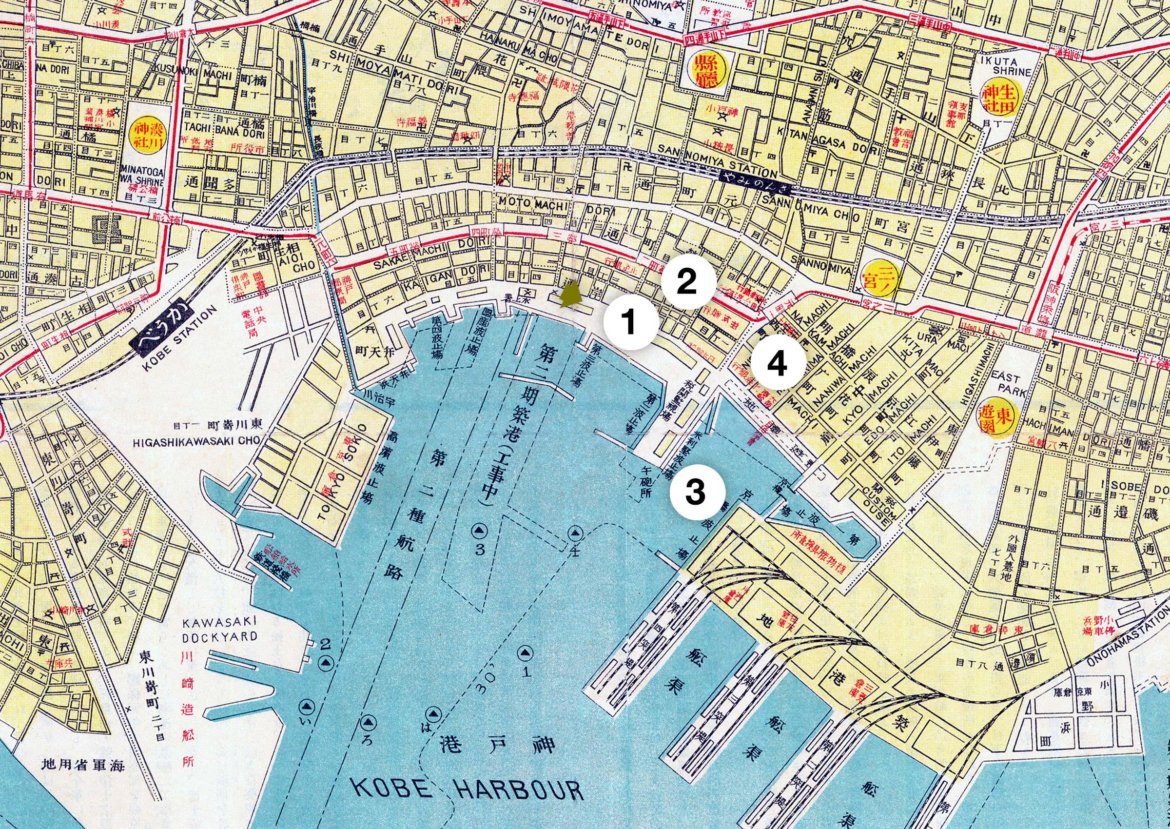 1929 map of Kobe's Kaigandori area