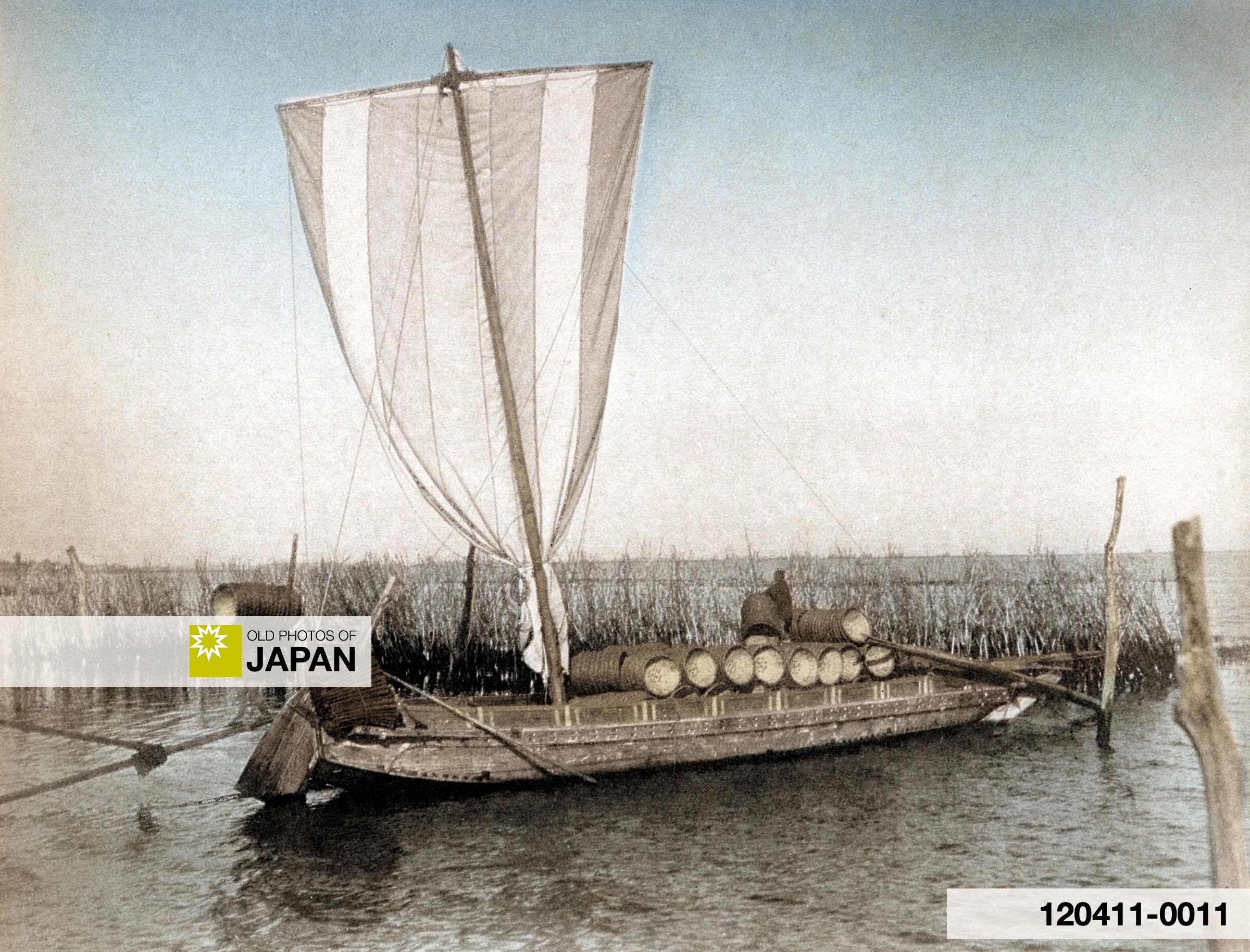 120411-0011 - Boat for collecting seaweed at Shinagawa, ca 1895 (Meiji 28)